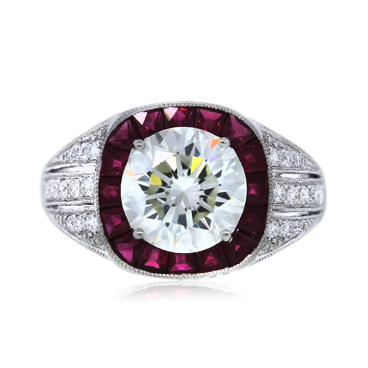 platinum gia certified 2 19ct round diamond and ruby engagement ring ruby wedding rings Ruby and Diamond Engagement Ring