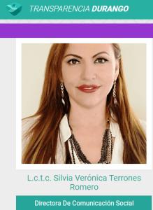 Verónica Terrones, directora de Comunicación Social del gobierno del estado de Durango, en la página oficial de Transparencia se ostenta como licenciada pero no aparece en el Registro Nacional de Profesionistas de la SEP.