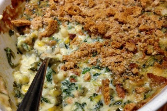 Green Chile Hominy Spinach Casserole
