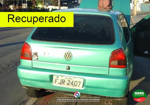 Veículo roubado é recuperado pela PM em Jaraguá do Sul