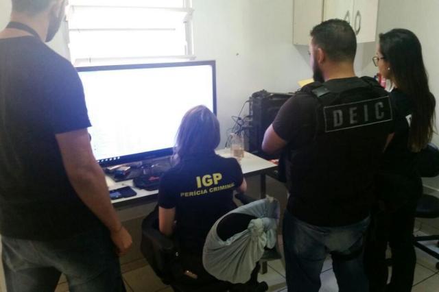 Em Santa Catarina, a Polícia Civil mobilizou cerca de 160 agentes para cumprir os mandados de busca e apreensão Foto: Polícia Civil / Divulgação
