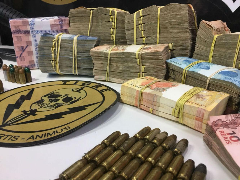 Parte do dinheiro roubado de bancos foi recuperado pelo Tigre - Foto: Tigre/Divulgação