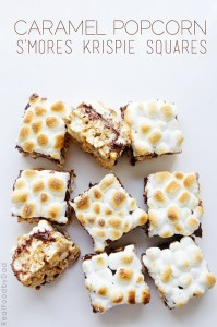 Caramel Popcorn Smores Krispie Squares from Real Food by Dad