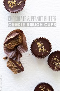 Chocolate and Peanut Butter Cookie Dough Cups via Real Food by Dad