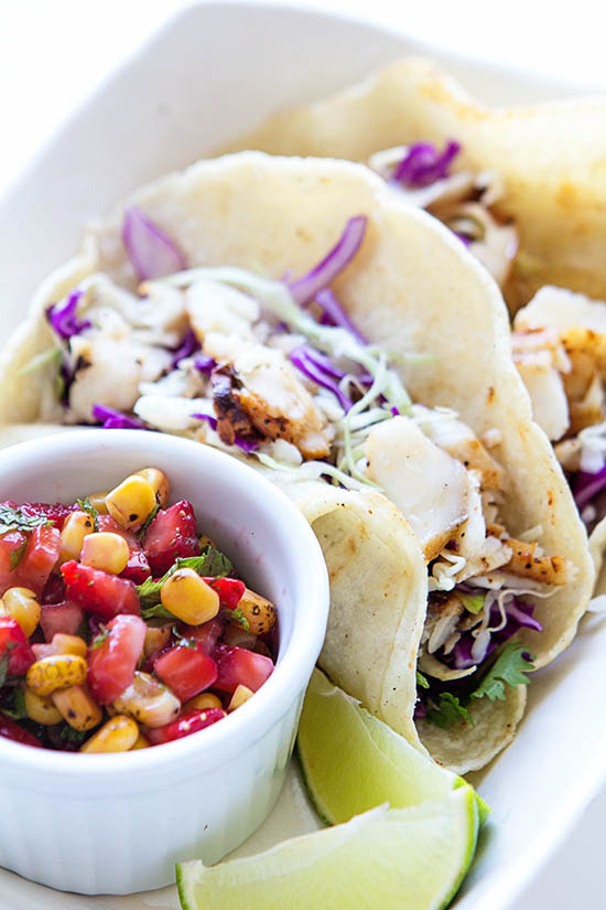 1 Fish Tacos w Strawberry Corn Salsa | Real Food by Dad