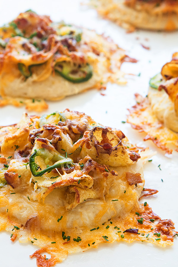 Cheesey Bacon Jalapeno Potato Chip Pizza Bites via Real Food by Dad