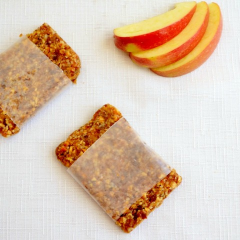 These Apple Pie Larabars are probably my favorite snack! The best part is that this homemade protein bar recipe only takes five minutes to make.