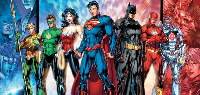 The founding members of the Justice League after New 52