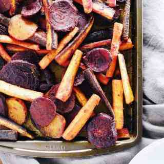Turmeric maple roasted beets and carrots four