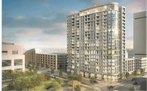 Rendering of one of the downtown Houston apartment towers planned by Camden Property Trust.