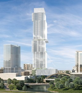 Rendering of The Independent, a proposed 58-story condo project in Austin. Architecture is by Rhode: Partners.