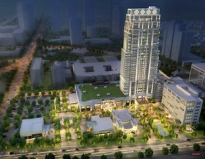 Tilman Fertitta is developing this mixed-use project in the Uptown area of Houston. Rendering: Gensler