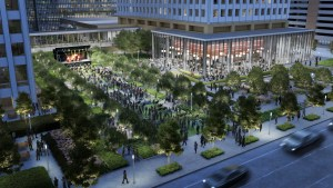 Rendering of green space planned at Allen Center in downtown Houston.