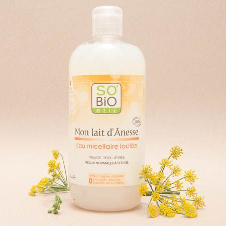 El agua micelar con leche de burra de So'Bio Étic