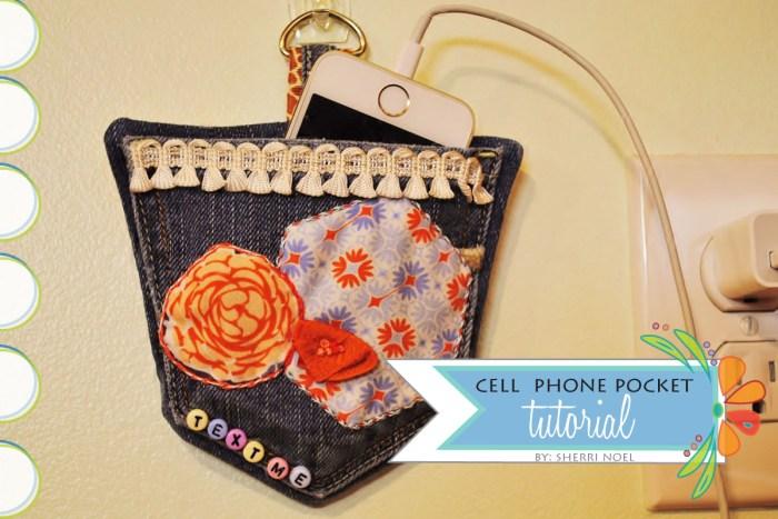 hanging cell phone pocket tutorial diy