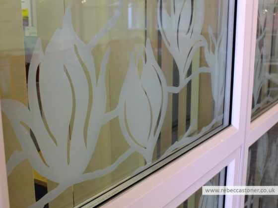 Magnolia Window Vinyl detail