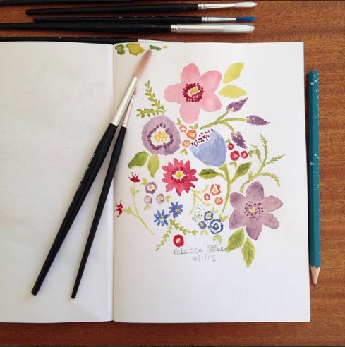 Watercolour Flowers by Rebecca Stoner from the #artdaily2015 project on instagram www.rebeccastoner.co.uk