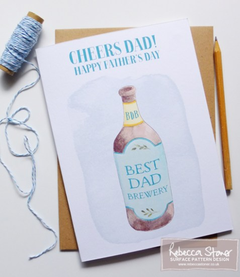 Bottle of Beer Father's Day Card by Rebecca Stoner www.rebeccastoner.co.uk