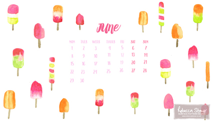 June Calendar - Watercolour Ice Lollies by Rebecca Stoner www.rebeccastoner.co.uk
