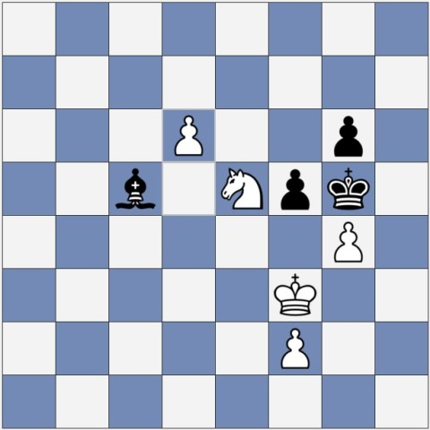 If Black moves fxg4+ then White wins with Kg2(!)