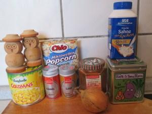 Ingrédients_Soupe de maïs au popcorn salé