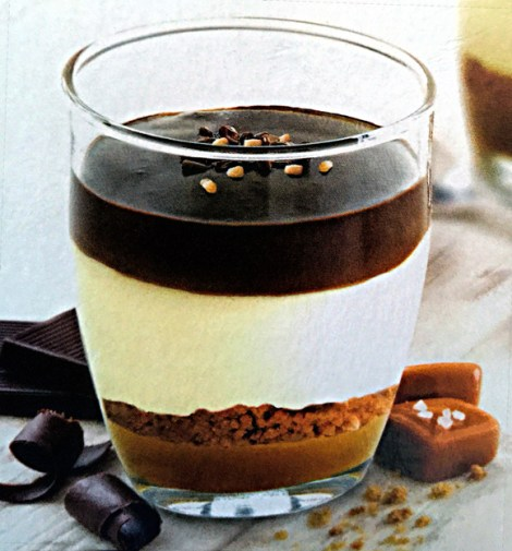 Caramel Mousse with Sea Salted Caramel Sauce & Chocolate Ganache