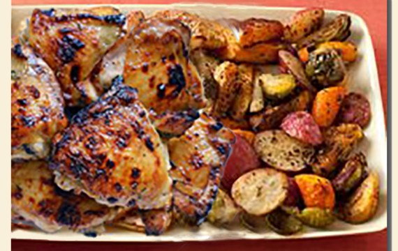 Honey-Balsamic Chicken with Roasted Veggies for Two