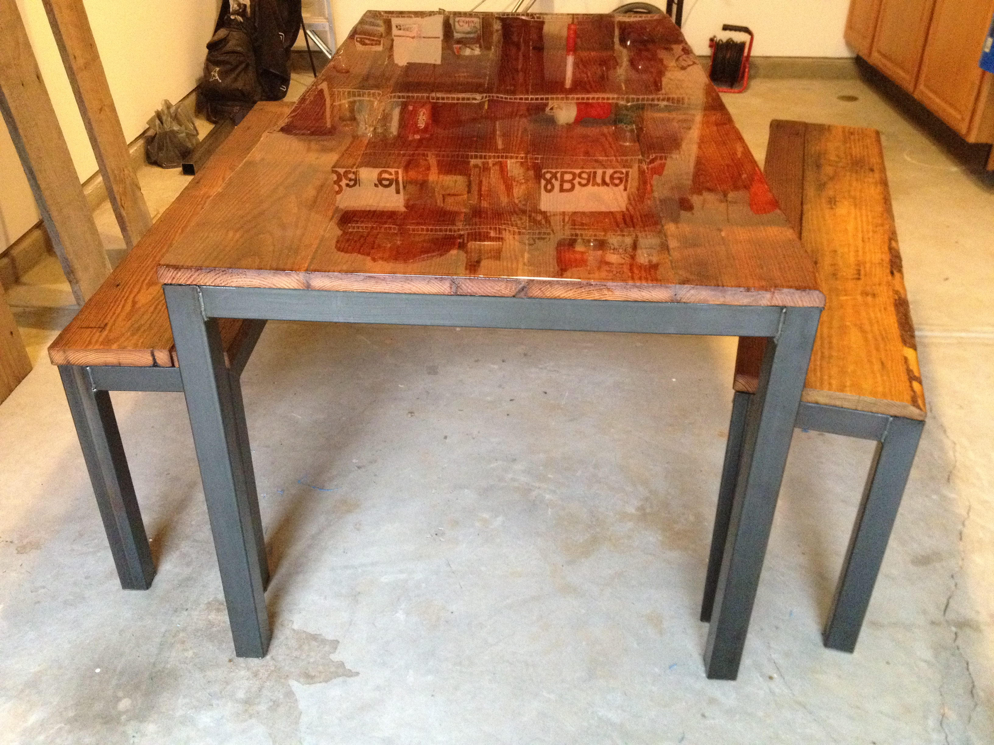 steel framed kitchen table and benches metal kitchen table Image Image Image