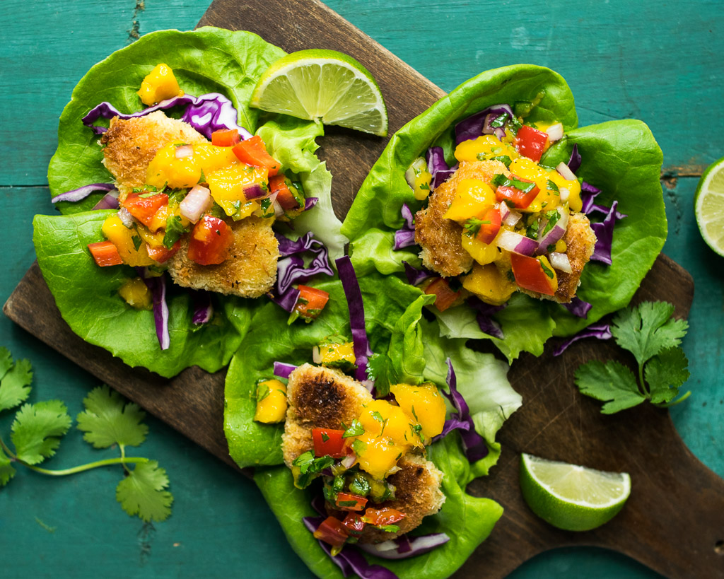 "... to ""Coconut Crusted Chicken Lettuce Wraps with Mango Lime Salsa"