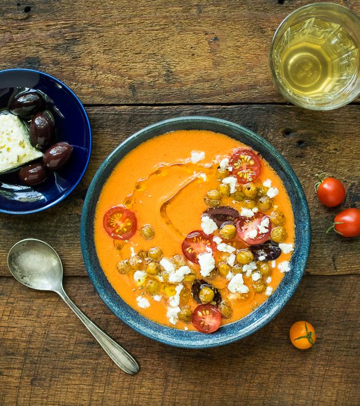 Greek Style Gazpacho with Crispy Chickpeas