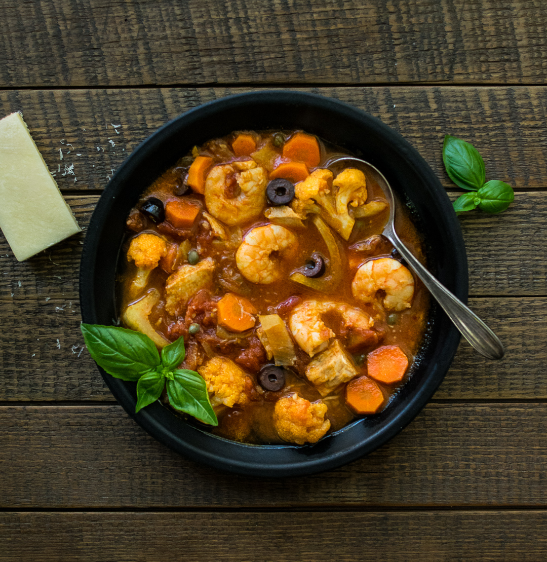 Puttanesca Soup (With Wild Caught Shrimp and Tuna)