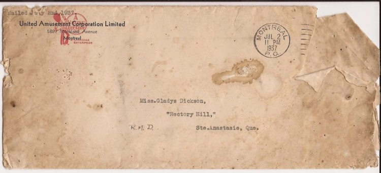 Lettre de Eva Dickson, 2 juillet 1937