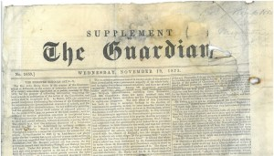 Journal The Guardian, 19 novembre 1873
