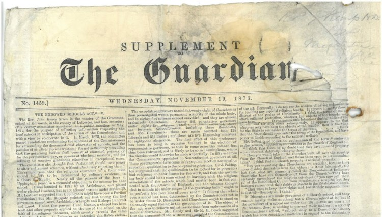 Journal The Guardian, 19 novembre 1873