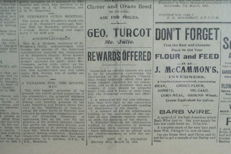 Article du Rev. Dickson concernant l'église qui a brûlé en 1903