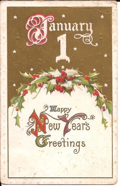 Carte postale du nouvel an, postée le 31 décembre 1913 à Ethel Dickson, Rectory Hill