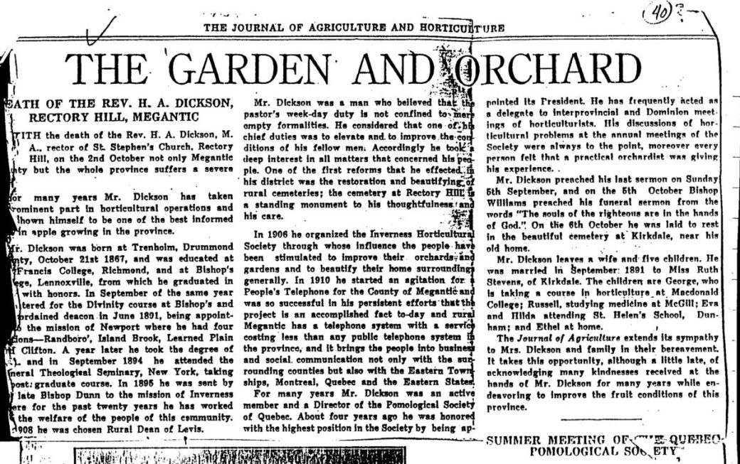Article publié par The Journal of Agriculture and Horticulture en 1915, suite au décès du Rév. Dickson