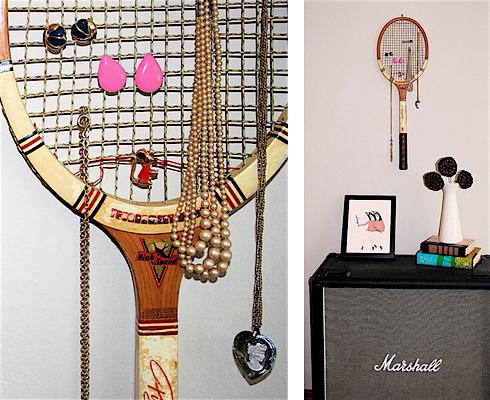 Jewelry Storage Bracelets Rings Earrings Racket Vintage Repurposed Jewelry Holder
