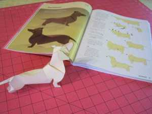 folded paper dog dachshund 3-d