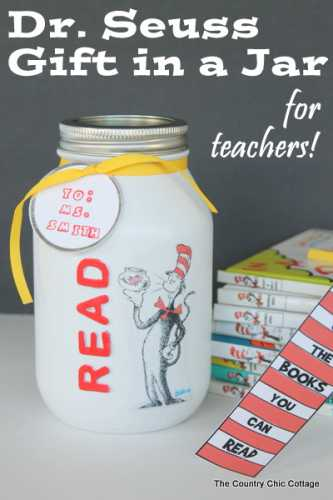 Dr seuss gift jar filled with bookmarks recycled crafts for Bookmark creator jar