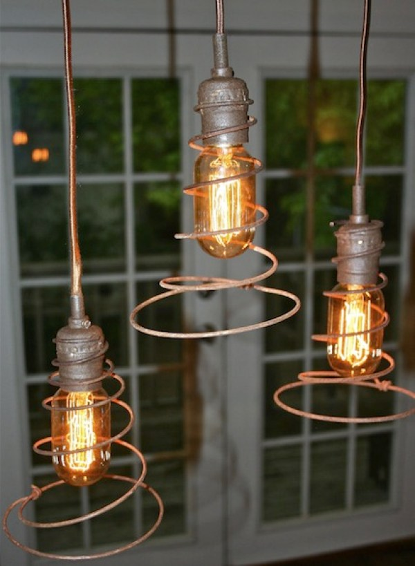 7 ways to reuse old bed springs recycled crafts - Recycled light fixtures ...