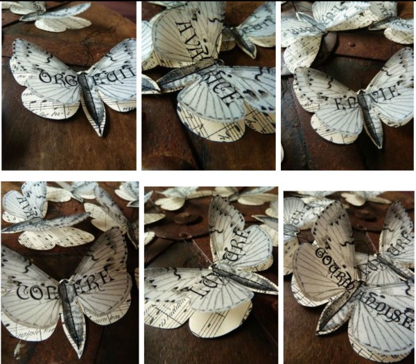 recycled paper dimensional butterflies