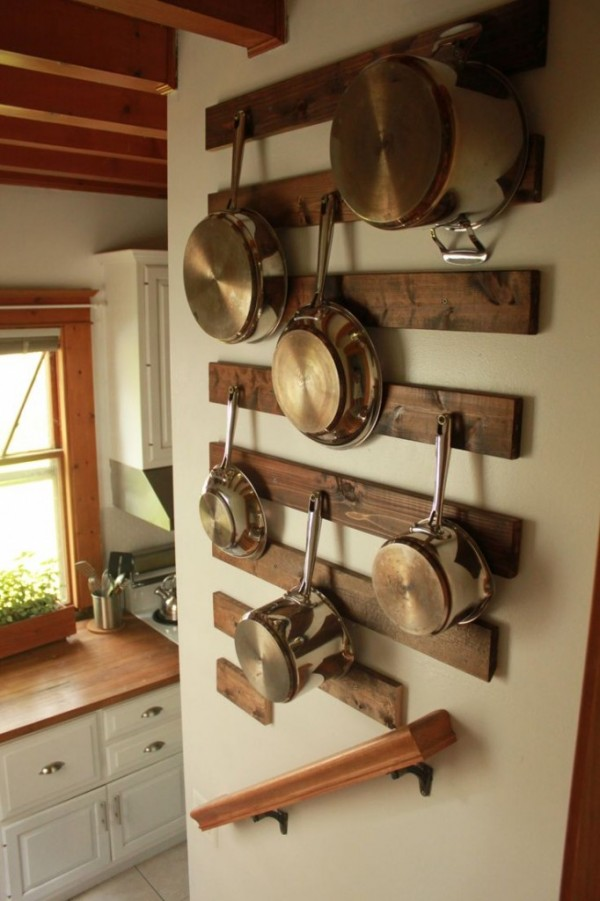 7 diy pot racks from recycled items recycled crafts for Reclaimed wood pot rack