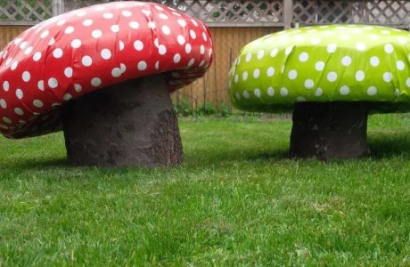 How to make giant toadstools out of recycled tires