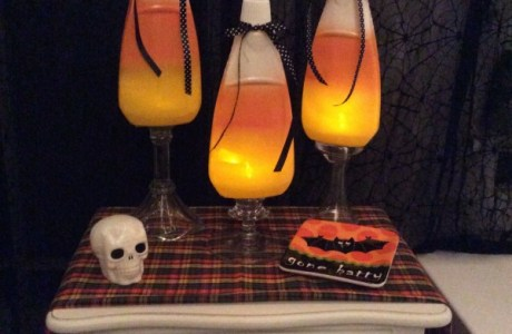How make recycled bottle candy corn Halloween lights