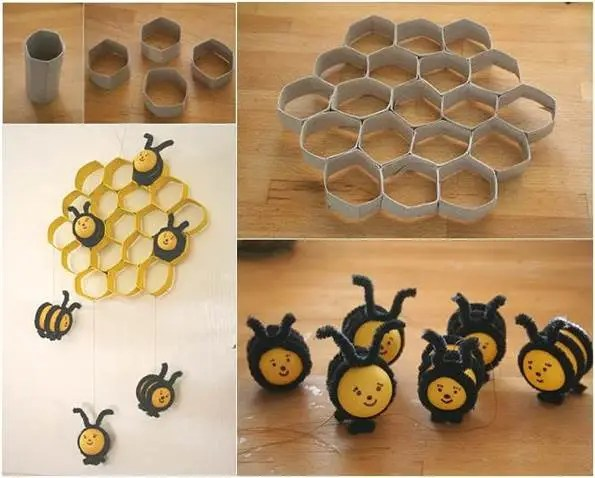 How-to-DIY-Lovely-Beehive-and-Bees-Decoration-from-Toilet-Paper-Rolls