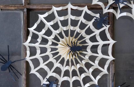 How to make a folded paper spiderweb