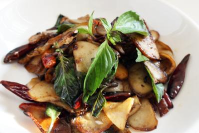 Stir-Fried Abalone Mushrooms with Purple Basil