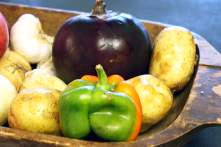 Potatoes, Eggplant and Bell Pepper