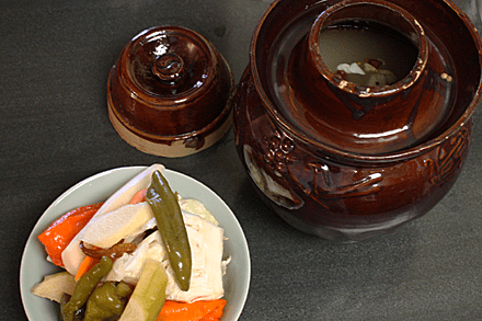 Sichuan pickles from a jar